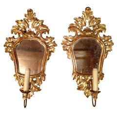 Gold Leaf and Mirror Sconces