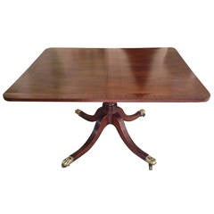English Georgian Tilt-Top Mahogany Supper Table, Brass Lion's Paw Feet