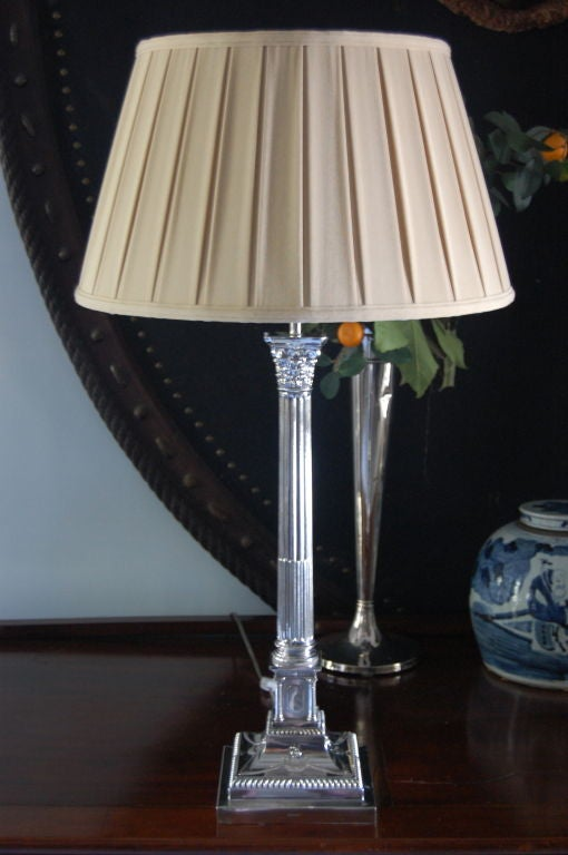 Pair Large Silver Column Lamps At 1stdibs