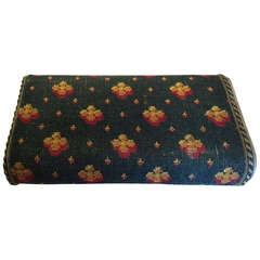 English Edwardian Brass and Carpet Foot Warmer and Footstool