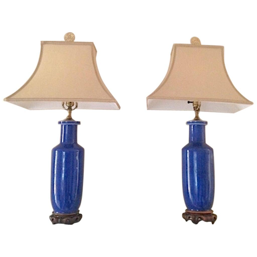 Mid century ginger jar lamp pair at 1stdibs - Pair Of Cobalt Porcelain Chinese Jar Lamps At 1stdibs
