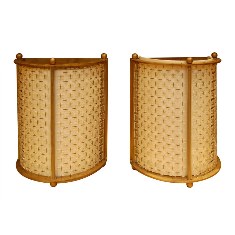 Italian Style Wall Sconces : Pair Deco Style Italian Wall Sconces at 1stdibs