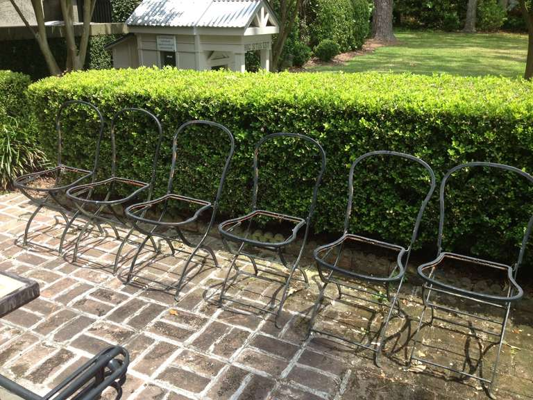 Six french iron garden chairs from provence at 1stdibs French metal garden furniture