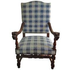 Walnut French Armchair in Brunschwig Fabric
