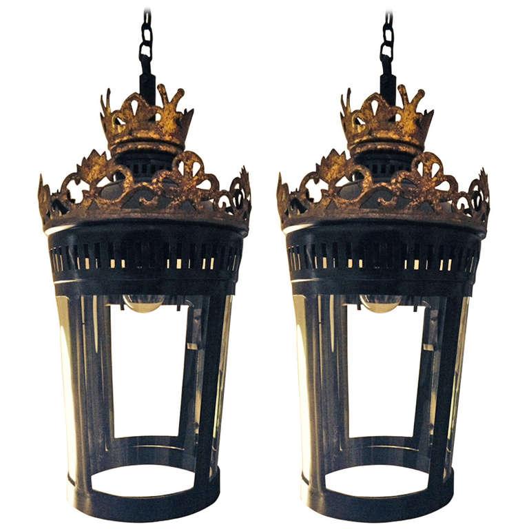 Pair Of Hanging French Lanterns At 1stdibs