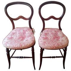 Pair of Mahogany Balloon-Back Chairs/Bennison Seats