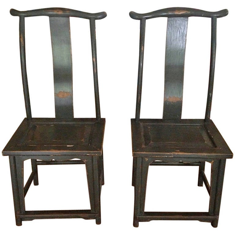 - Pair Of Chinese Yoke-Back Painted Wood Side Chairs At 1stdibs