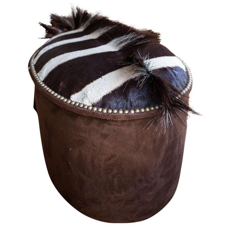 Zebra Upholstered Ottoman At 1stdibs