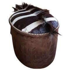 Zebra Upholstered Ottoman