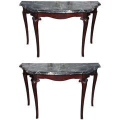 Fine Pair of Portuguese Rococo Rosewood and Marble Consoles