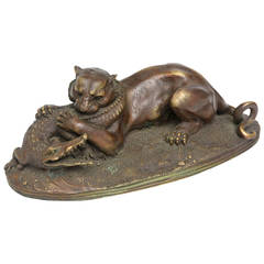 French Patinated Bronze Cougar and Crocodile, 19th Century by Jules Moigniez