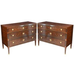 Fine Pair of Italian Neoclassic Marquetry and Parquetry Inlaid Commodes