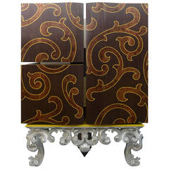 Italian Rococo Style Marquetry and Silver Leaf Three-Door Cabinet on Base