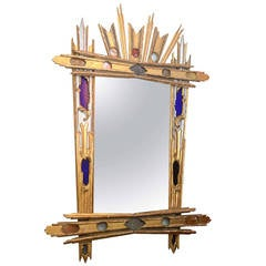 Venetian Giltwood and Colored Glass Mirror