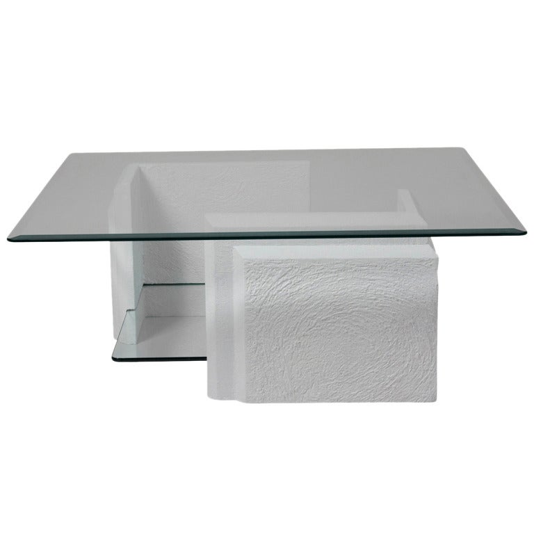 Stone And Glass Two Tier Coffee Table At 1stdibs