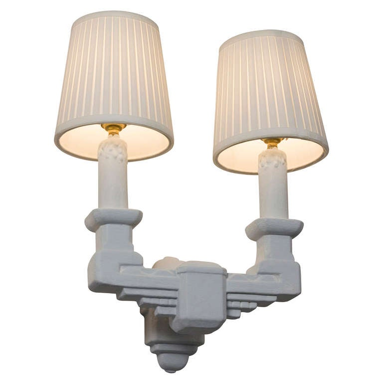 Plaster Cast Wall Lights : Two Arm Plaster Sconces at 1stdibs