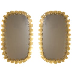 Pair of Amber Resin Illuminated/Lit MIrrors