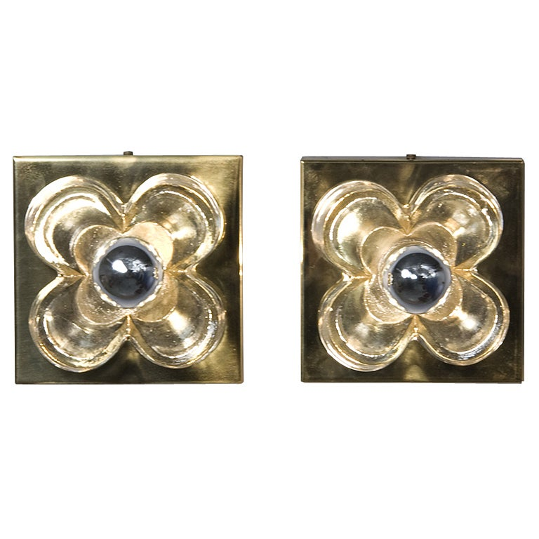 Glass Wall Sconces For Flowers : Pair of Chunky Glass Block Flower Wall Sconces at 1stdibs