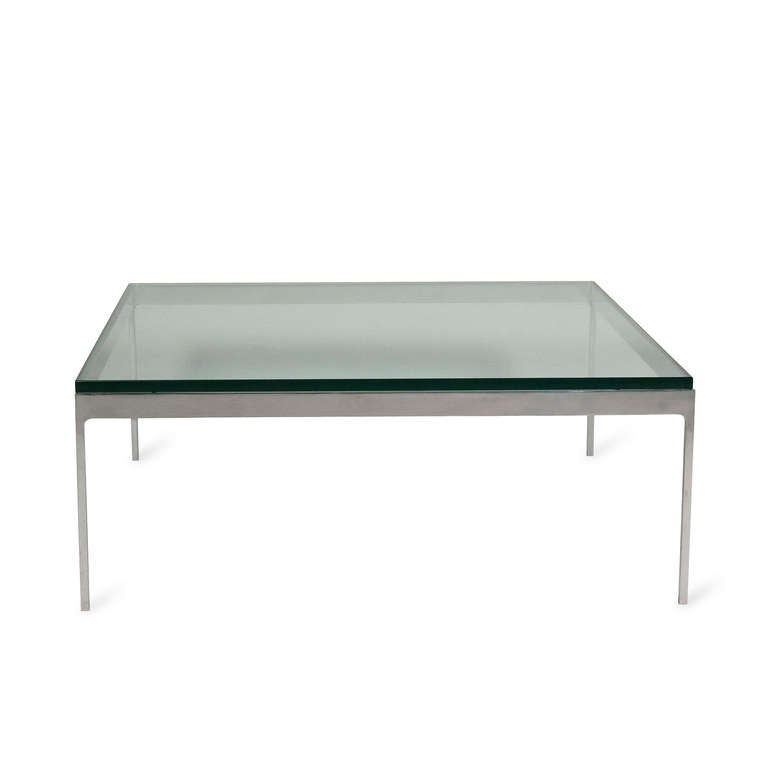 Thick Square Black Stone Top Coffee Table With Short Black: Nico Zographos Coffee Table At 1stdibs