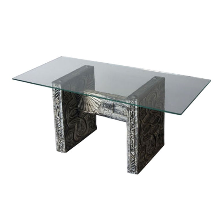 Glass top rectangular occasional table on an h shaped base for Glass top occasional tables