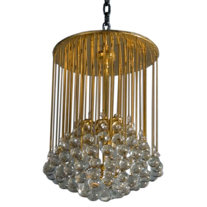 Clustered Hanging Crystal Balls Chandelier At 1stdibs