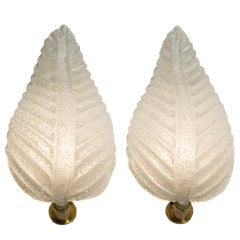 Pair of Leaf Form Rugiodoso Sconces by Barovier