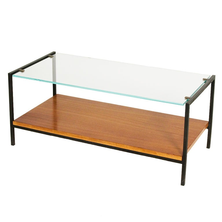 Glass top and rosewood steel frame coffee table by alain for Metal frame glass coffee table