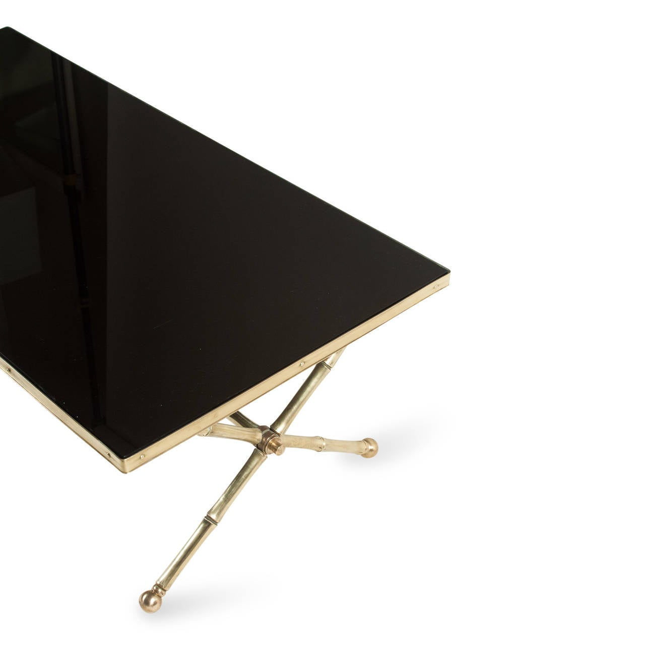 Black glass top coffee table at 1stdibs for Black glass coffee table