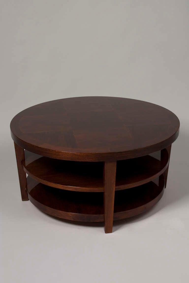 Circular three tier mahogany coffee table at 1stdibs for Mahogany coffee table