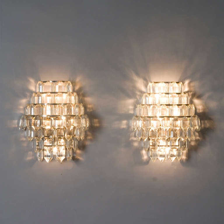 Pair of faceted crystal wall sconces at 1stdibs - Battery operated crystal wall sconces ...