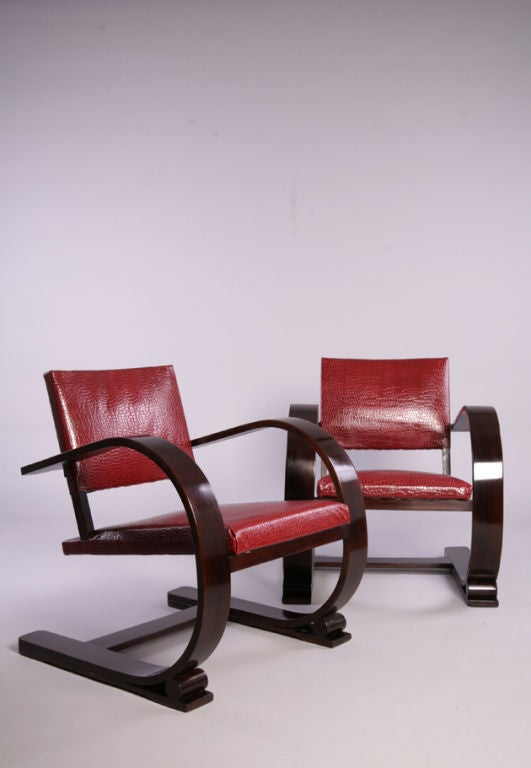 Pair of Faux Crocodile Cantilevered Armchairs by Audoux et Minet image 2