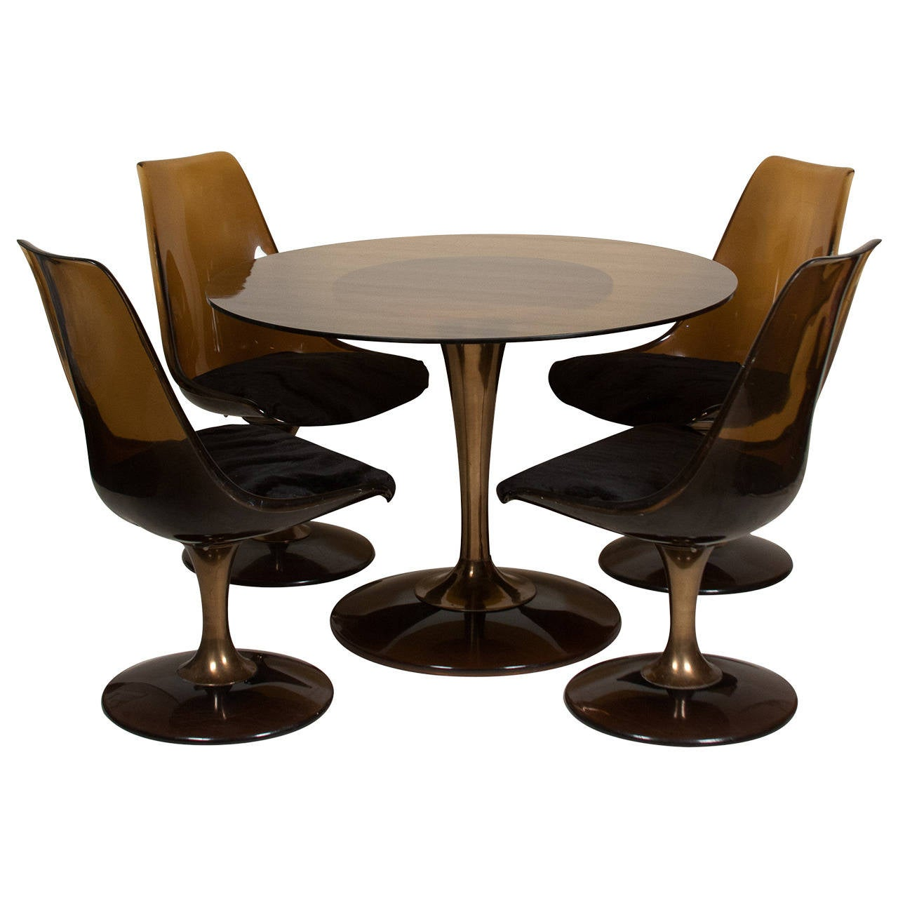 Amber glass top tulip dining table and chairs for sale at