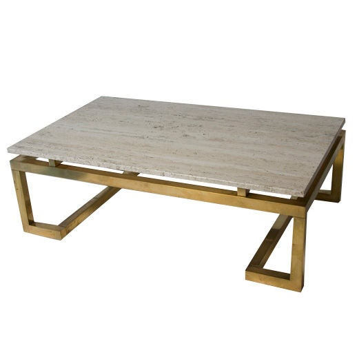 Charles Modern 47 Square Glass Top Coffee Table W: Travertine Top Brass Base Rectangular Coffee Table At 1stdibs