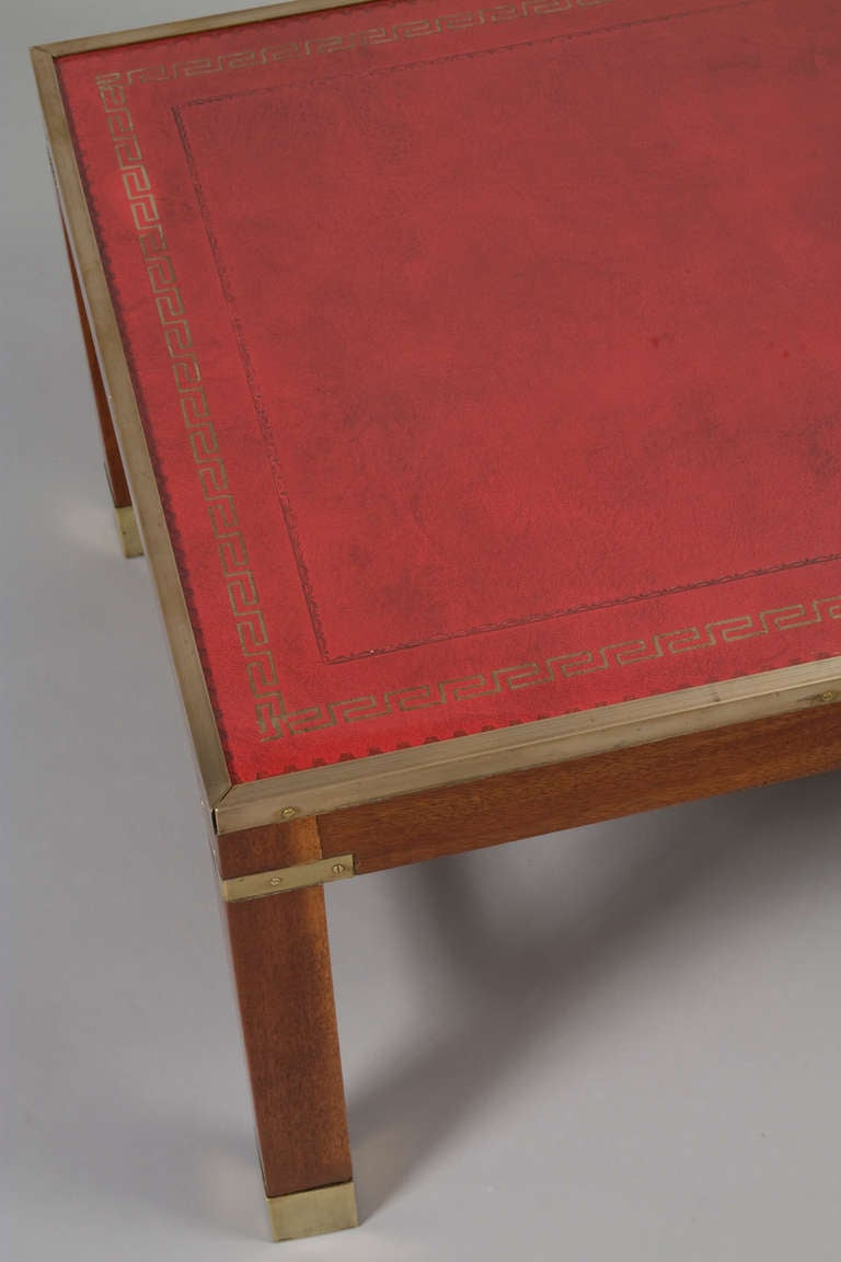Red Leather Coffee Table At 1stdibs