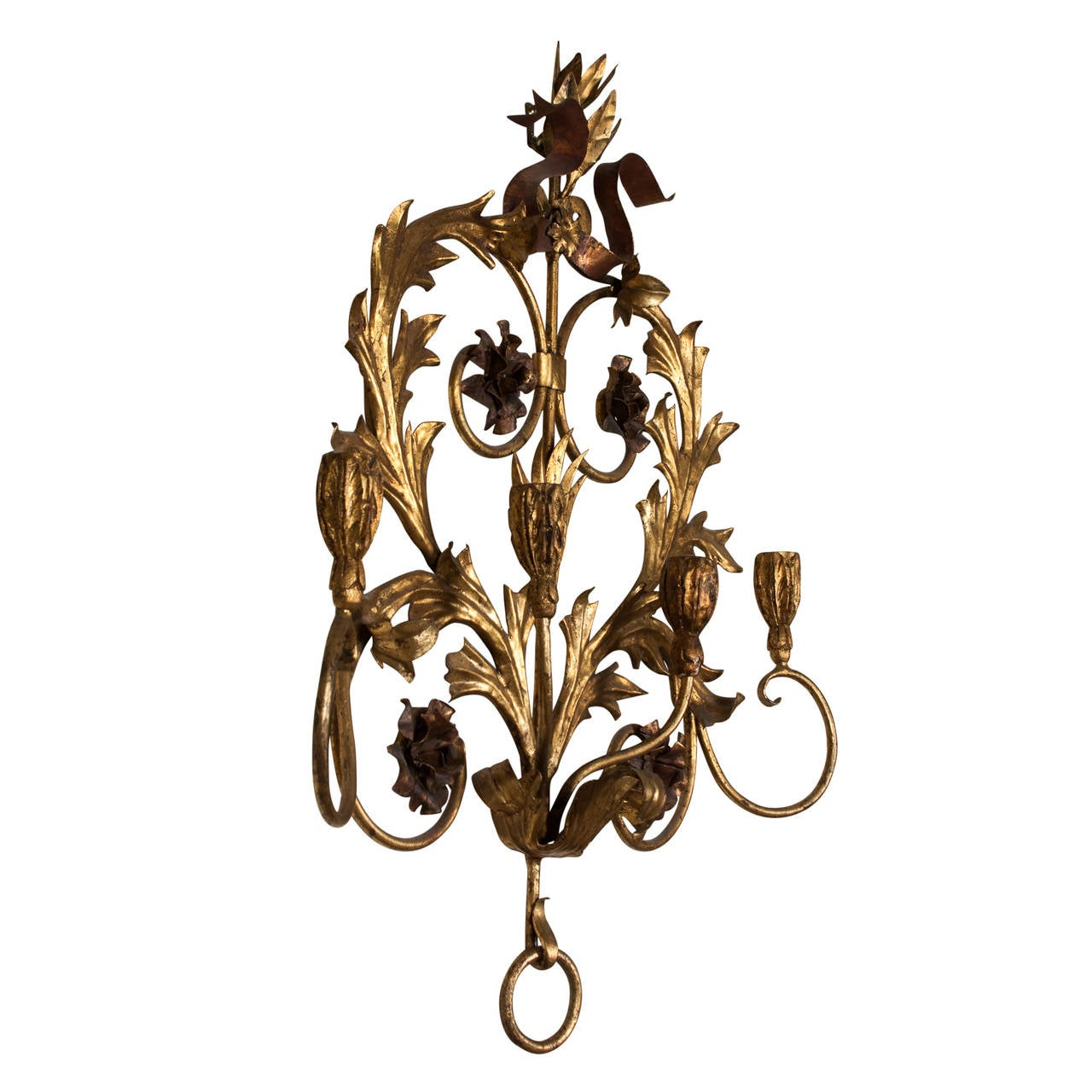 Wall Sconces That Hold Flowers: Elaborate Floral Gilt Iron Candle Sconce For Sale At 1stdibs