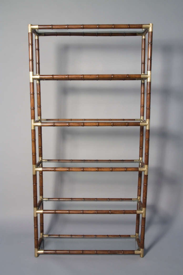 Faux Bamboo and Bronze Six Shelf Etagere with Bronze Fittings 3