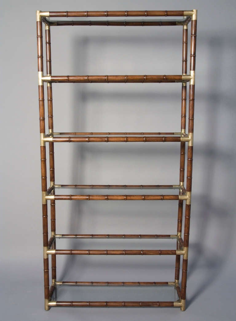 Faux Bamboo and Bronze Six Shelf Etagere with Bronze Fittings 2