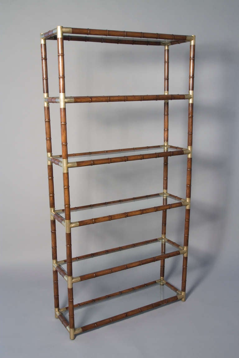 Faux Bamboo and Bronze Six Shelf Etagere with Bronze Fittings 4
