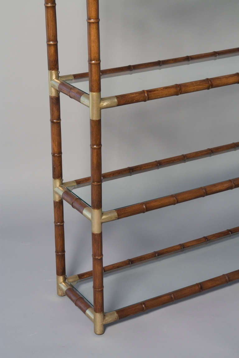 Faux Bamboo and Bronze Six Shelf Etagere with Bronze Fittings 5