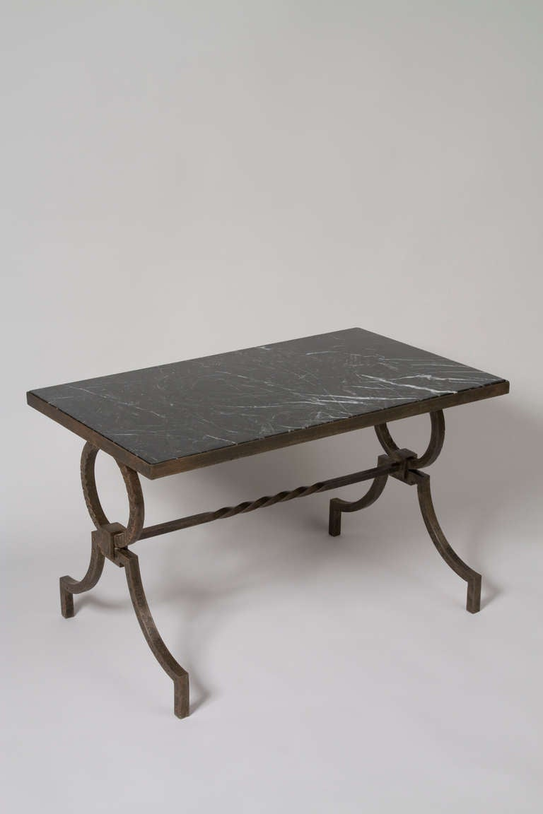 Marble top iron coffee table by poillerat at 1stdibs Coffee tables with marble tops