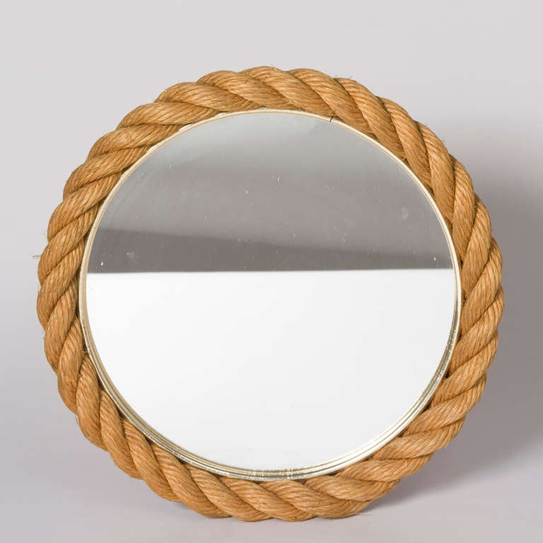 braided rope circular round mirror by audoux et minet at 1stdibs. Black Bedroom Furniture Sets. Home Design Ideas