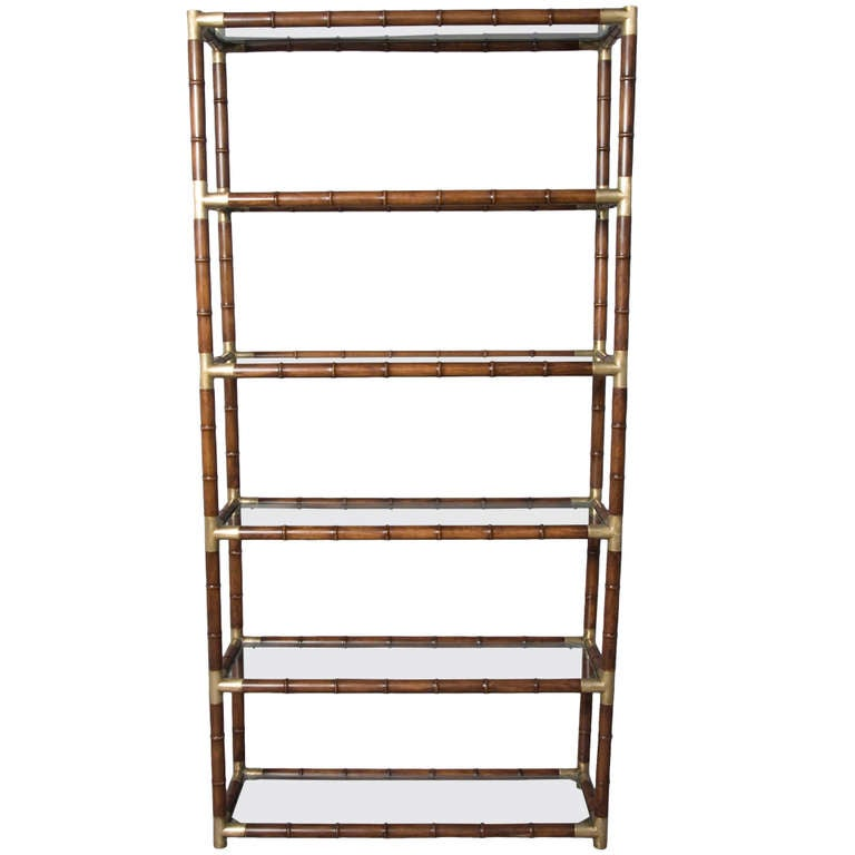 Faux Bamboo and Bronze Six Shelf Etagere with Bronze Fittings 1