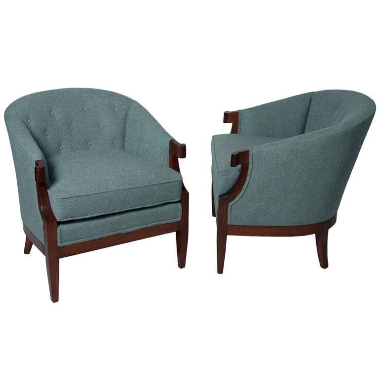 Curved Arm Upholstered Armchairs By Baker At 1stdibs