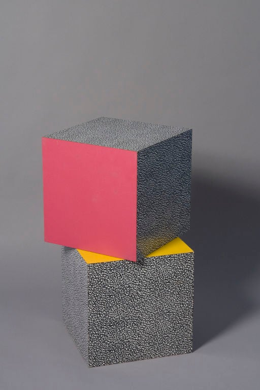 Set Of Two Multi Colored Laminated Cubes By Ettore