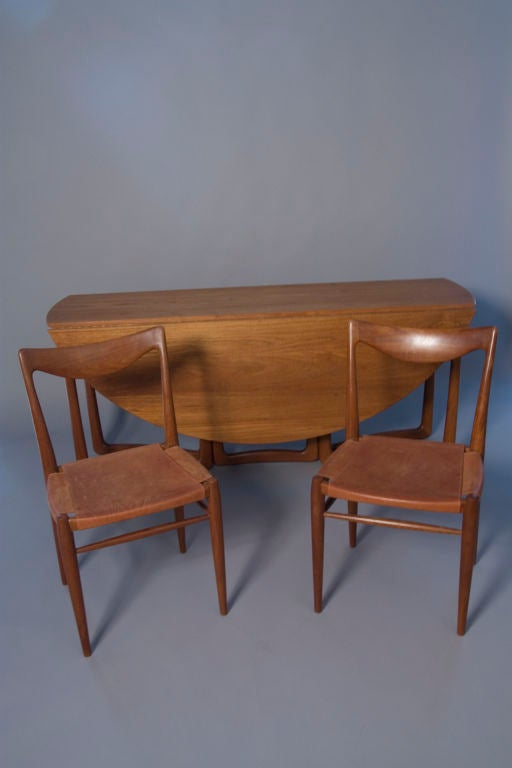 Teak Folding Dining Table And Four Chairs By Peter Hvidt
