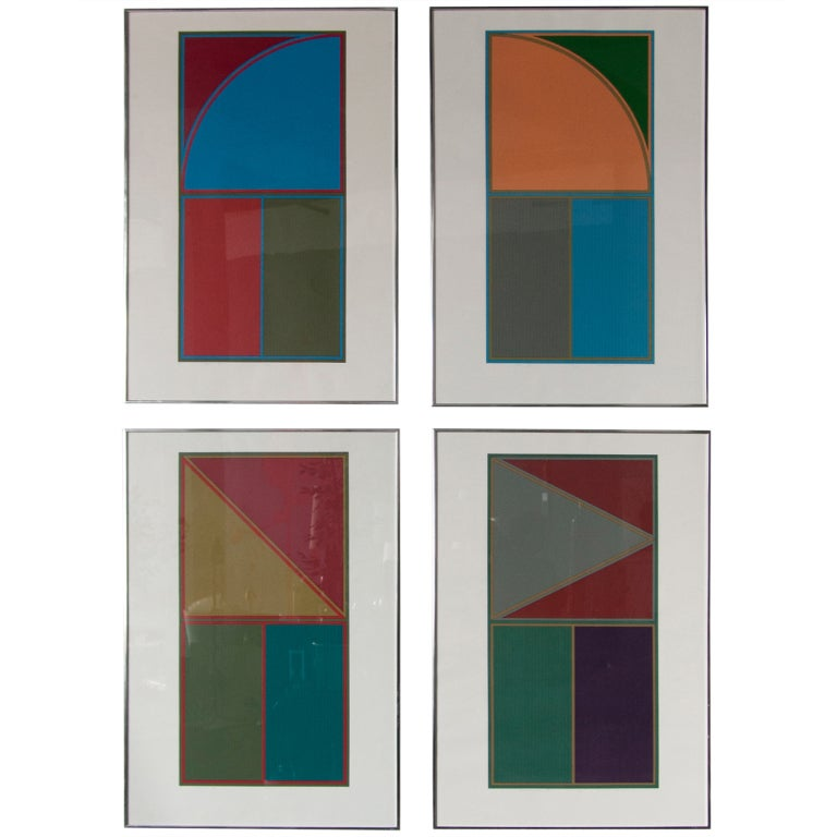Set of Four Geometric Lithographs by Gordon House 1