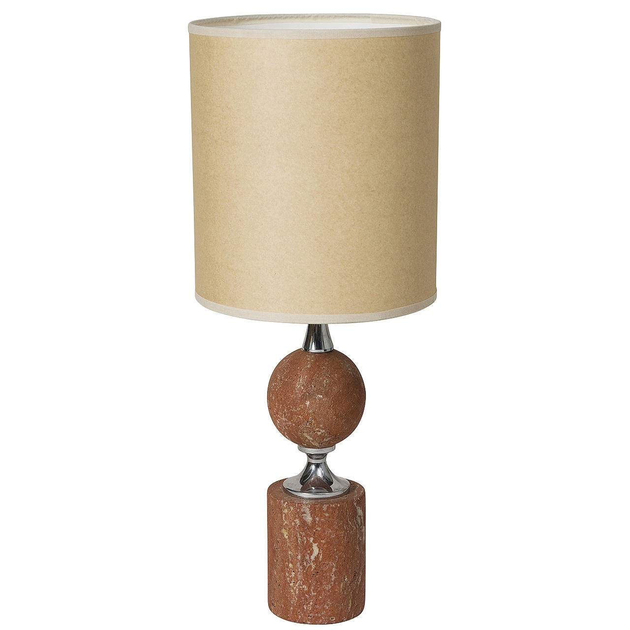 Rouge Travertine Table Lamp By Barbier At 1stdibs