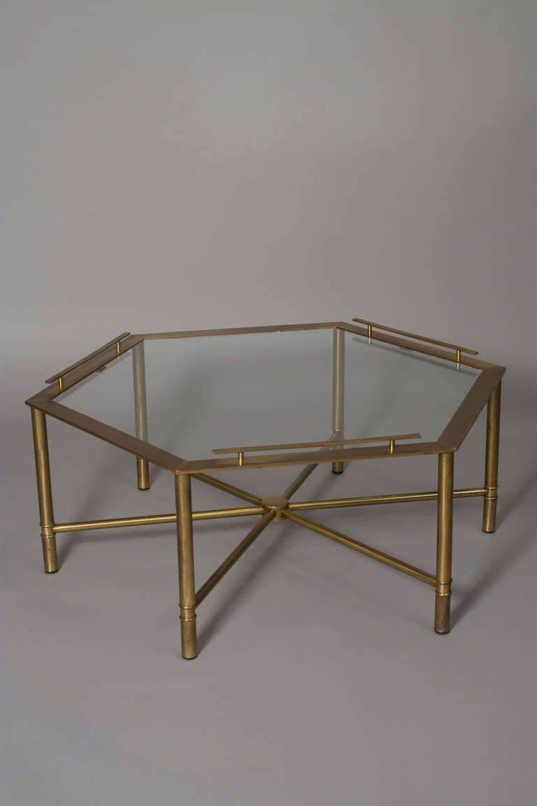 Bronze hexagonal glass top coffee table by mastercraft at for Hexagon coffee table glass