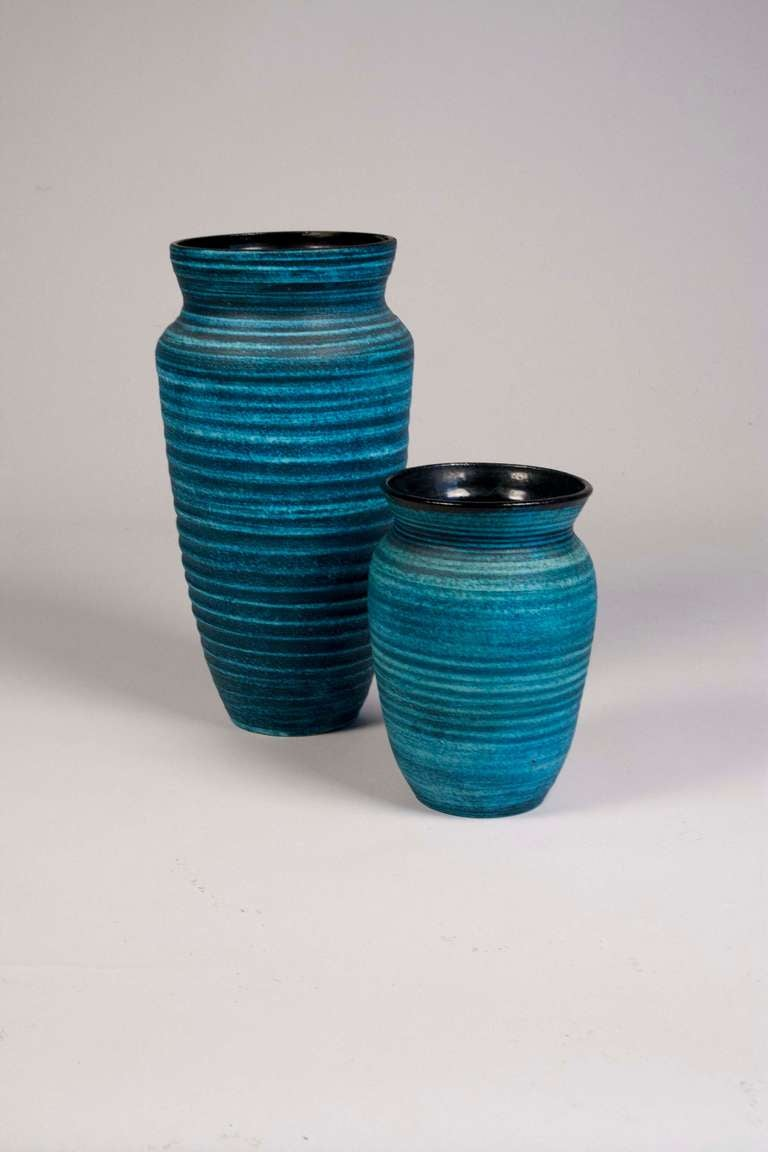 Two Blue Banded Ceramic Vases By Accolay At 1stdibs