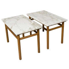 Pair of Walnut Dowel Frame Marble Top End Tables by Gibbings